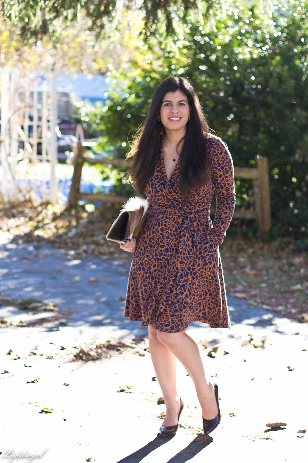 CT Style blogger wearing a custom eShakti wrap dress with a springbok clutch for fall