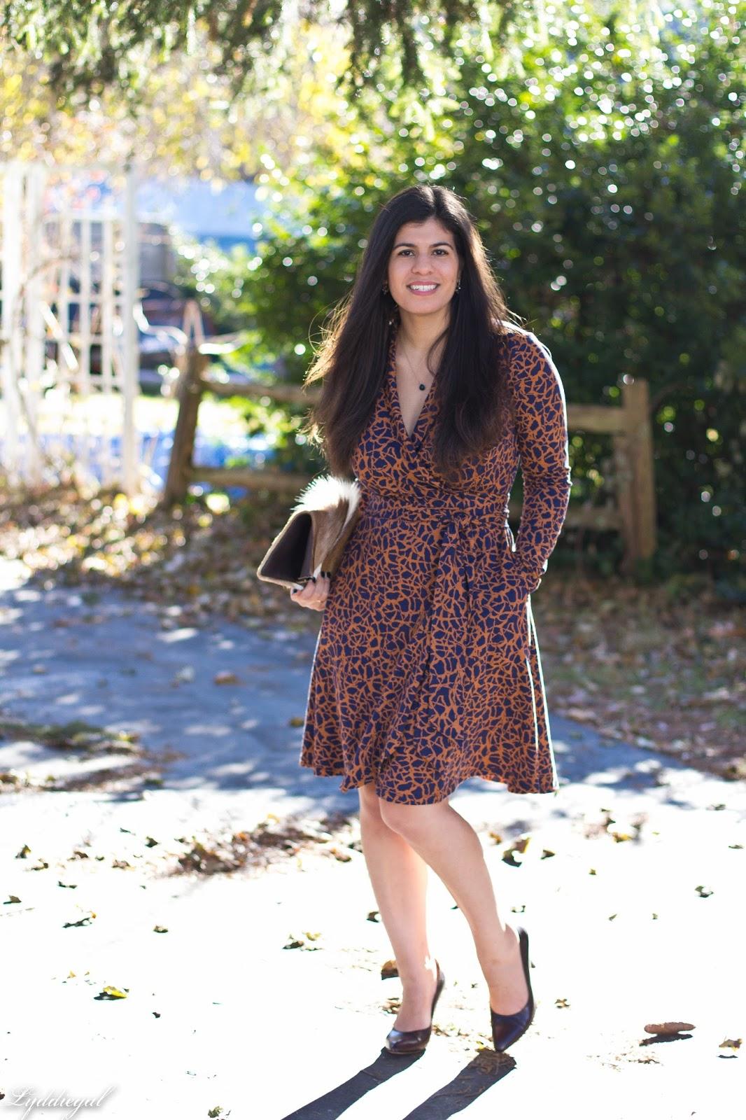 CT Style blogger wearing a custom eShakti wrap dress with a springbok clutch for fall