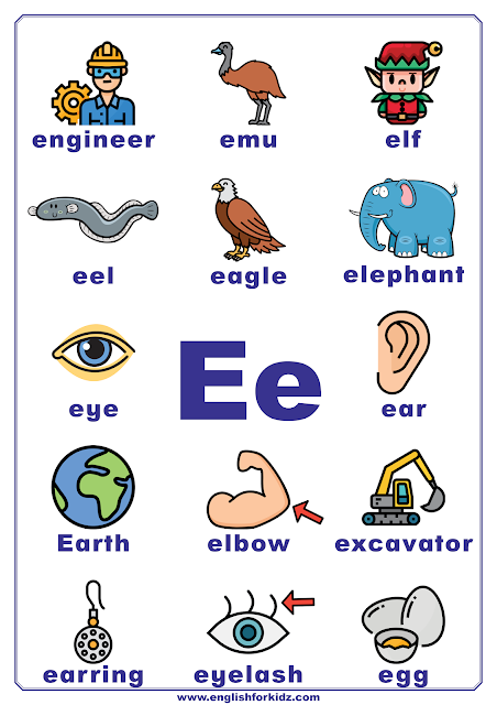 Printable alphabet poster - letter E with pictures - classroom wall decoration