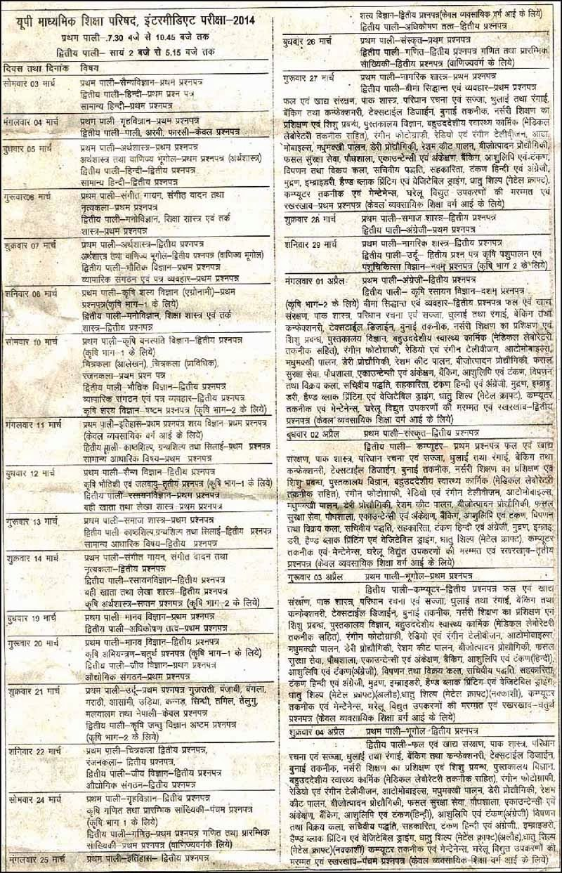 UP Board Class 12th Time Table 2014