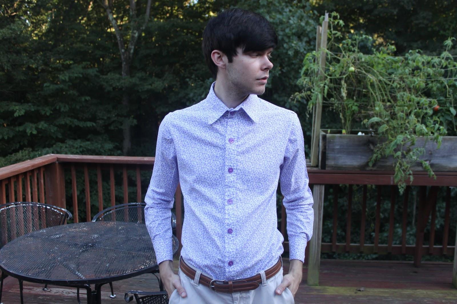 Sewing a men's purple shirt