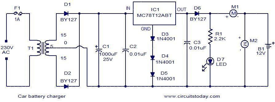 Car battery charger with MC78T12 | audio wiring diagram