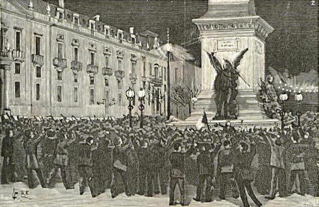 Manifestación ante el monumento a los Restauradores en Lisboa, dibujo publicado en la revista lisboeta Occidente, 21-1-1890