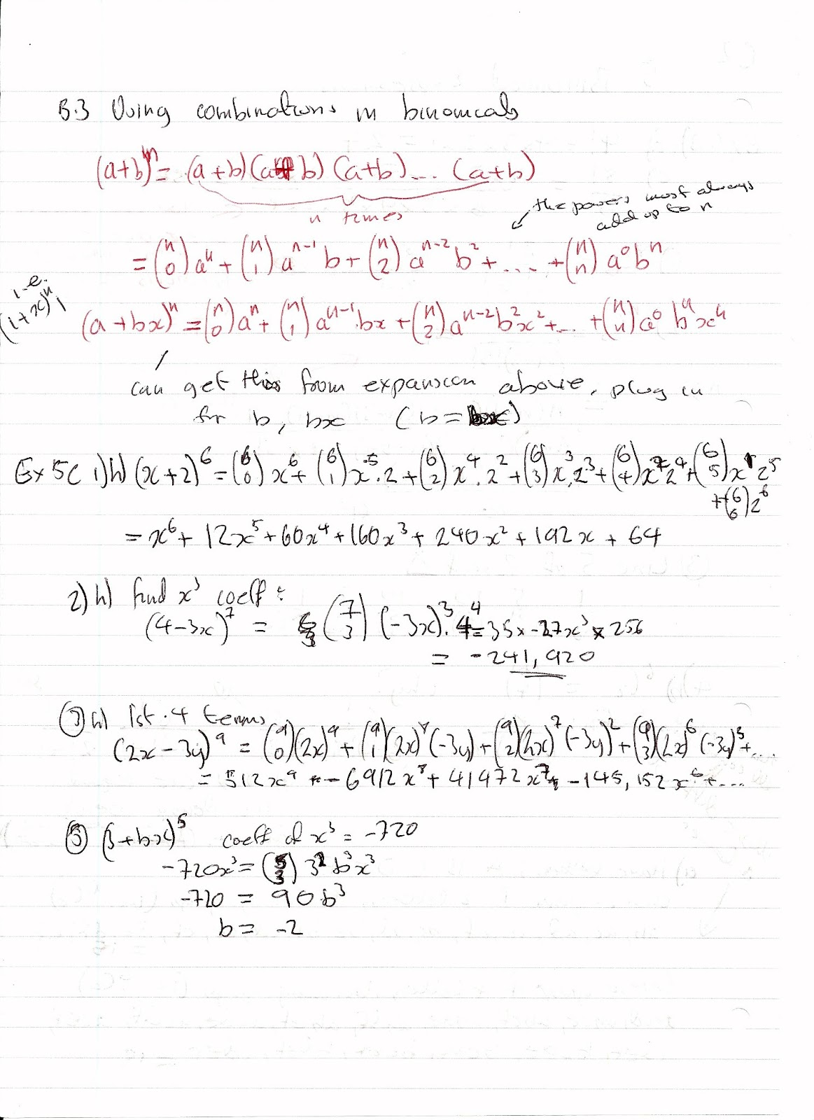A Level Maths Notes Edexcel C2 5 Binomial Expansion