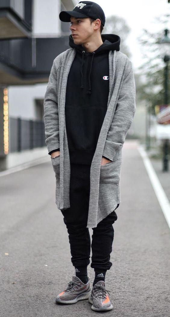 Streetwear o Cardigan Masculino Longo Cinza Moda Calitta Brasil