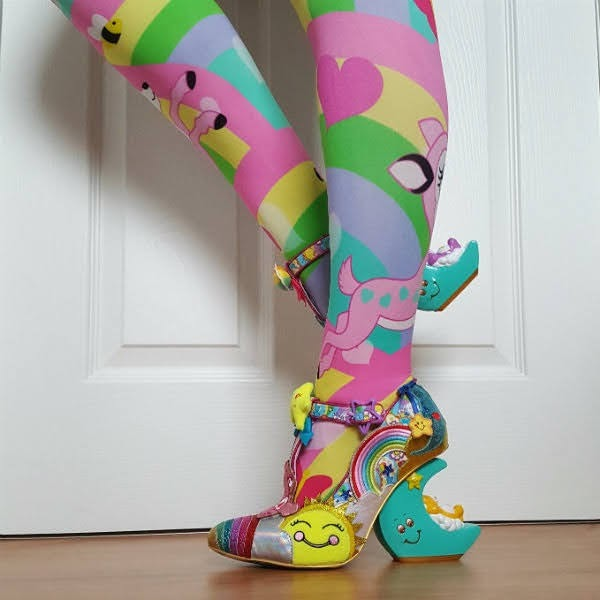 colourful fawn print tights with crescent moon shaped care bear heeled shoes with sun and rainbow on uppers