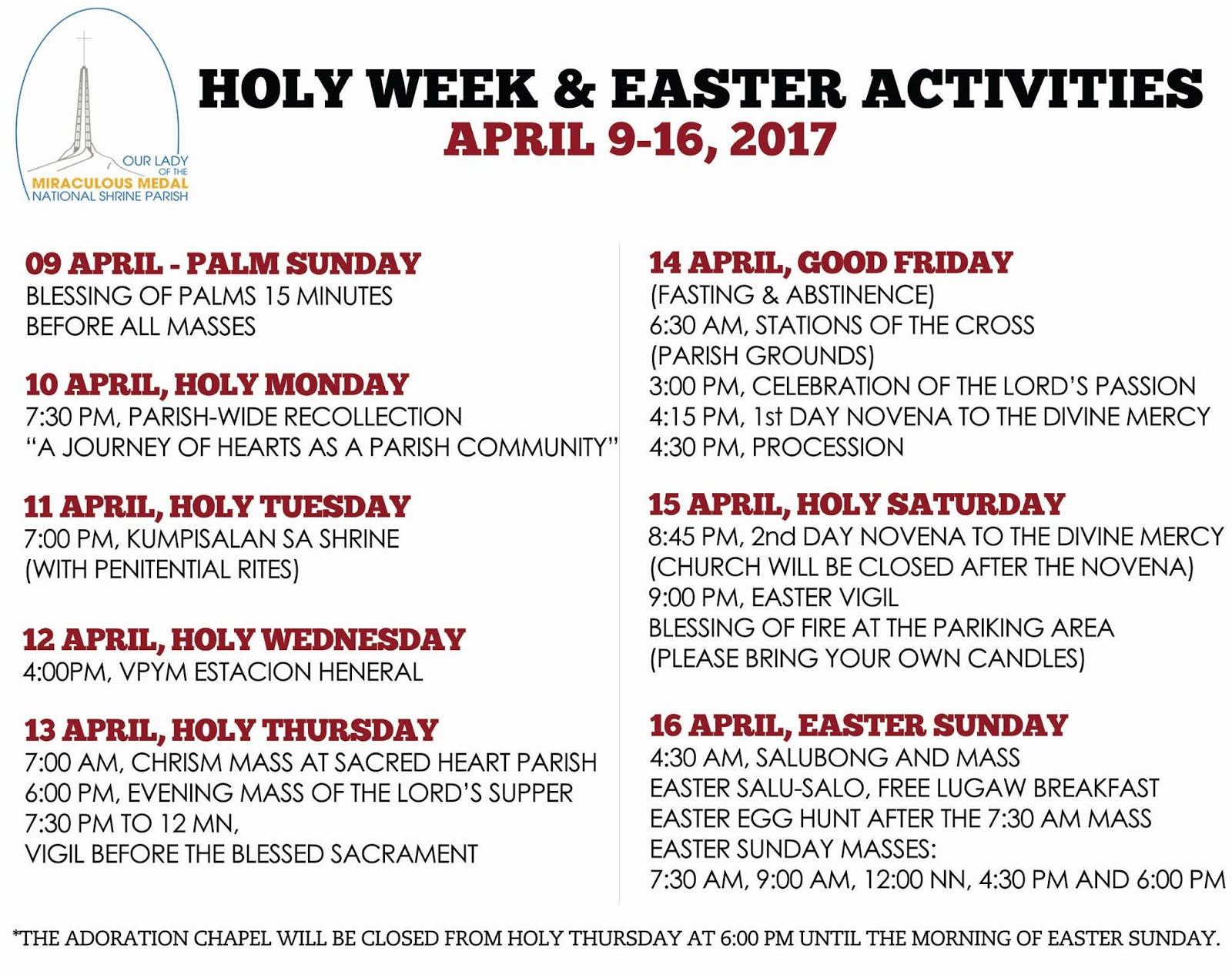 Names for the Holy Week 2017, church calendar names 26