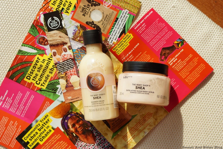 The Body Shop Shea Butter Shower Cream and Exfoliating Sugar Scrub Review