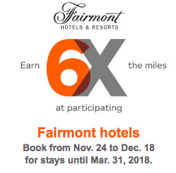 Aeroplan Fairmont Hotels Black Friday Offer 6x Miles For Stays In The Americas