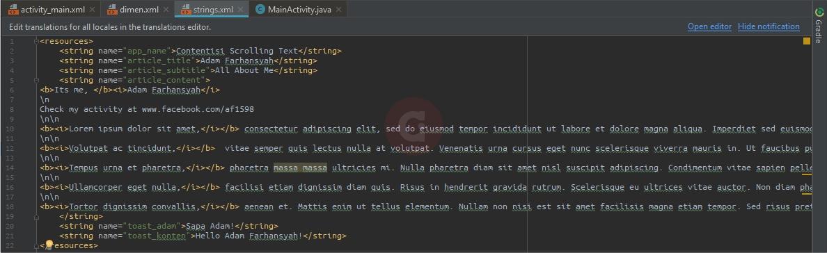 Script Strings.xml Scrolling Text