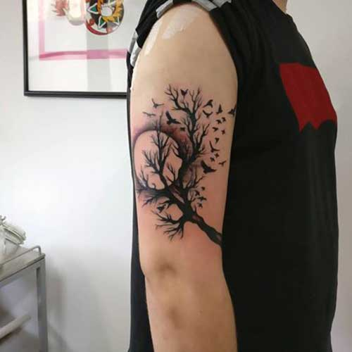 erkek üst kol ağaç dövmesi upper arm tree tattoo for guys