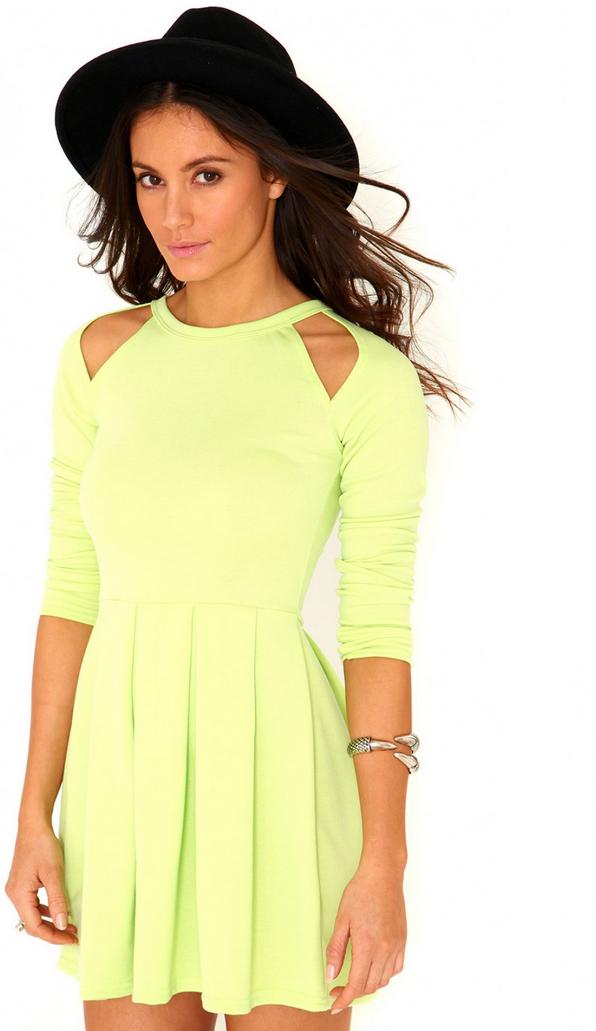 Back Detail, Bright, Cut Out Detail, Dress, Green, Lime Green, Long Sleeve, Mini Dress, lMissguided, Neon, Shoulder Detail, Skater Dress, Zip Detail,