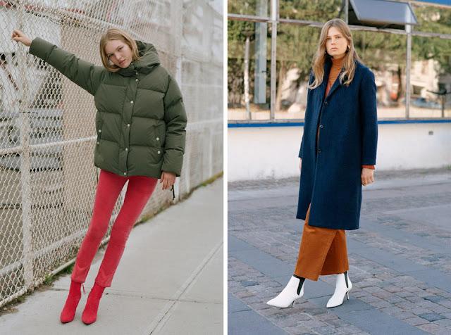 Девушка в зеленом пуховике и красных брюках, в синем пальто и горчичных брюках