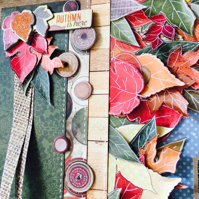 Fall Notes Scrapbook Page by Angela Tombari using BoBunny Farmers Market Collection
