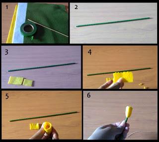 Tutorial Bunga Daffodil dari bahan Kain Flanel part 1