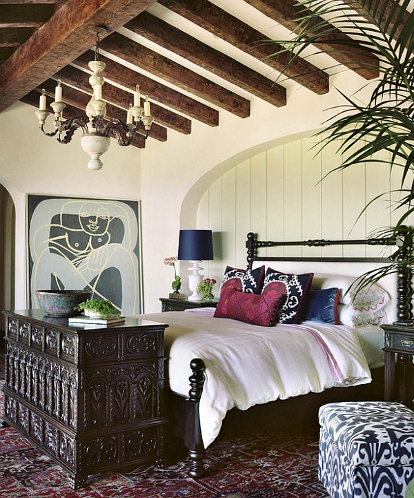 The White Walls And Bedding Provide A Freshness Against The Dark And