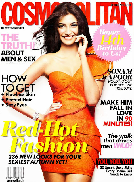 Sonam Kapoor on Cosmopolitan Magazine cover October 2010