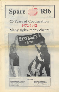 Cover ot Spare Rib showing three women haning a Dartmouth 1972 Banner