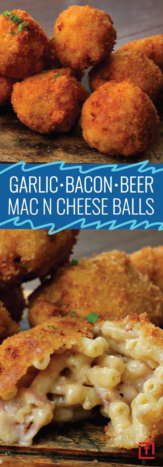 Small Snack, Big Flavor: Garlic, Bacon, and Beer Mac & Cheese Balls