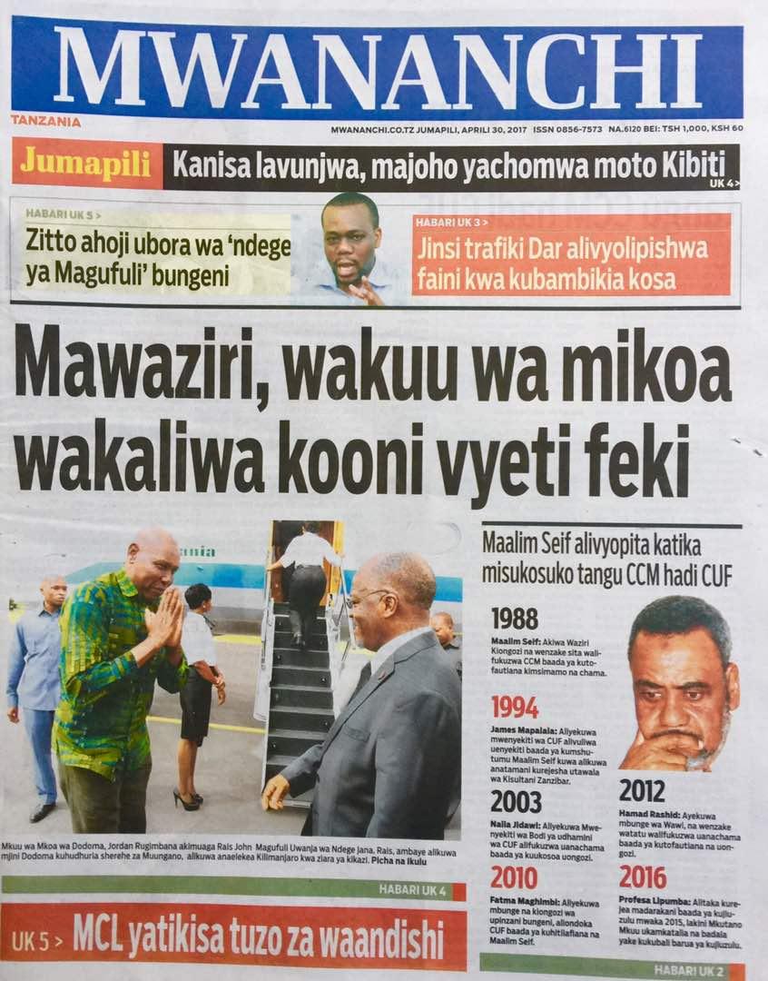 Habari Zilizopo Katika Magazeti Ya Leo Jumapili ya April 30