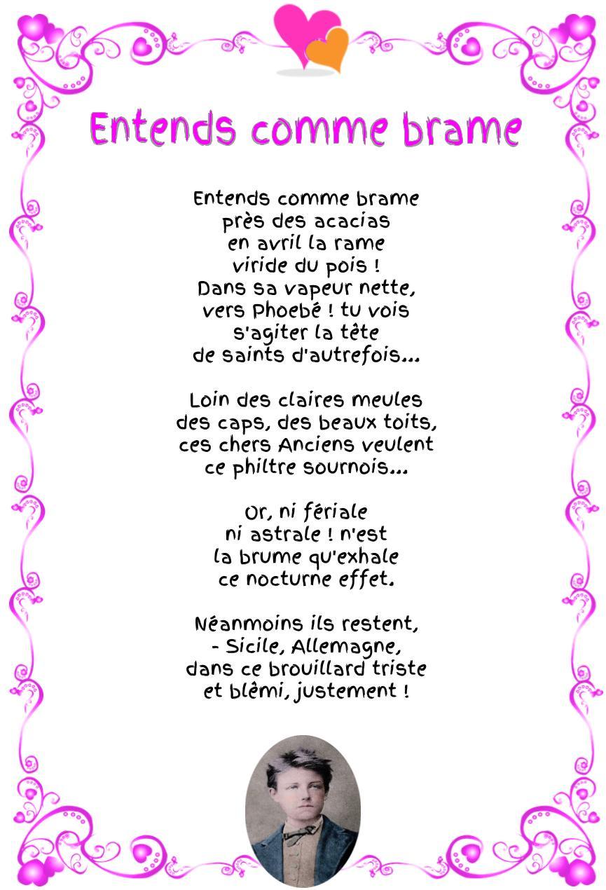Entends comme brame : Poème d'Arthur Rimbaud
