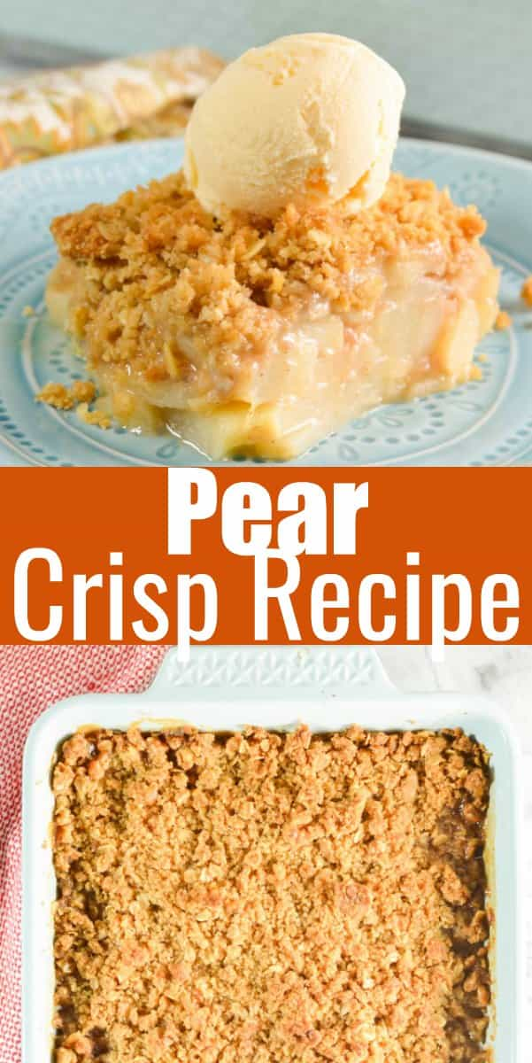 Pear Crisp is a favorite fall dessert recipe with fall flavors of cinnamon, vanilla, nutmeg, and ginger from Serena Bakes Simply From Scratch. A delicious dessert for Thanksgiving.