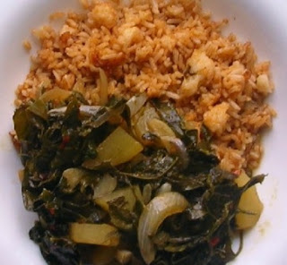 Pumpkin Leaves Stew and Rice