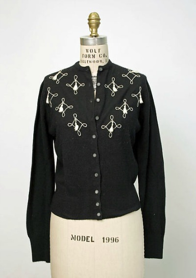 Black sweater with embroidery from Elsa Schiaparelli 1950s