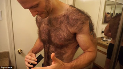 Hairy man with 3 shaved in back