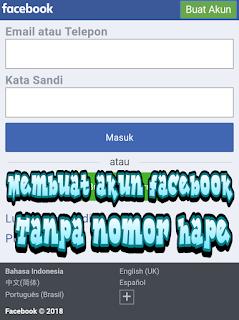 Membuat akun Facebook tanpa nomor hape
