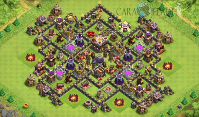 Base Farming TH 9 COC Update Bomb Tower Terbaru 2017 Tipe 1