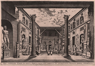 An engraving by the Dutch artist Hieronymus Cock of the inner courtyard of the Palazzo Valle