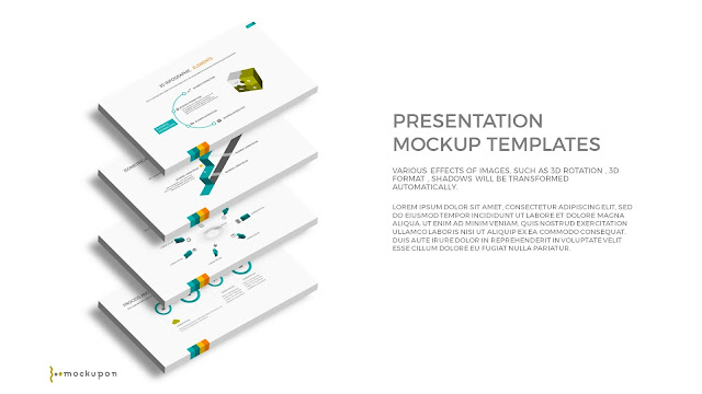 Free PowerPoint Template with 3D 4 Layered  Screen Mockups