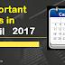 Important Day in April 2017 in hindi