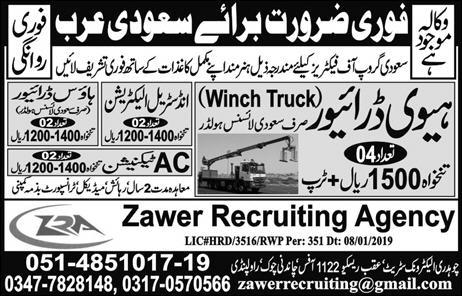 Jobs Vacancies Announces In Zawer Recruiting Agency At 11 January 2019