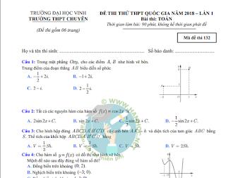Đề thi môn Toán chuyên đại học Vinh - Nghệ An - Lần 1 - 2018