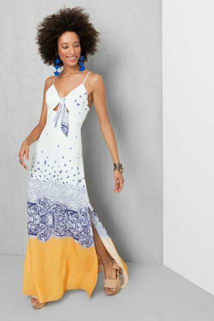 Silk printed long Dress