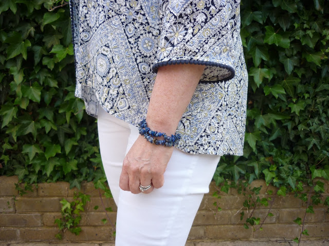 Side view of Blue Kimono with bracelets