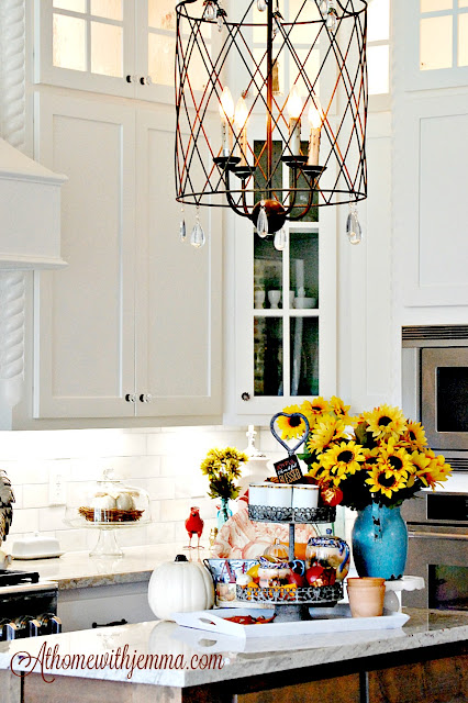 Kitchen-Fall-sunflowers-tiered-tray-white-pumpkin-tiered-tray-jemma