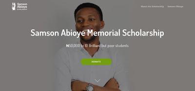 Samson Abioye Memorial 2018 Undergraduate Scholarship For Nigerian Students