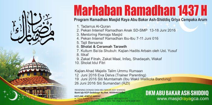 Program Ramadhan Masjid Raya Abu Bakar Ash Shiddiq Gca