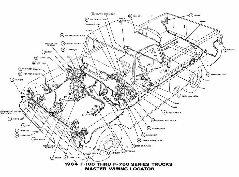 Ford F100 Through F750 Trucks 1964 Master Wiring Diagram