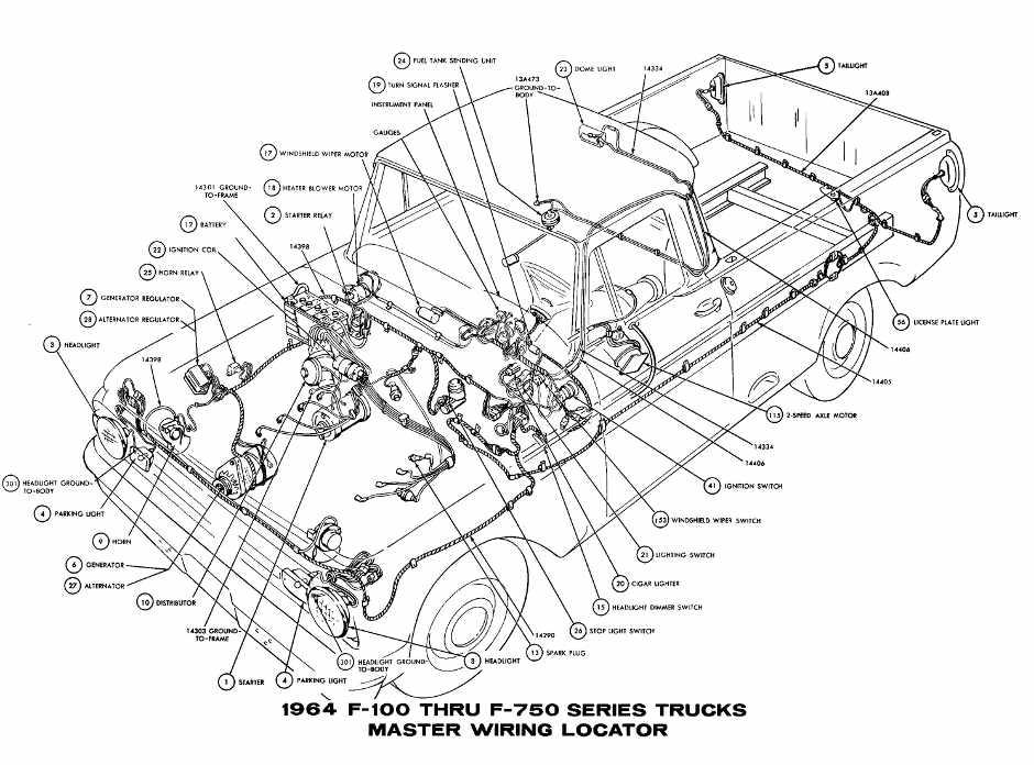 Ford F-100 Through F-750 Trucks 1964 Master Wiring Diagram