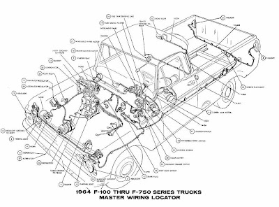 Ford F-100 Through F-750 Trucks 1964 Master Wiring Diagram ...