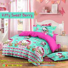 Sprei Custom Katun Lokal Anak Hello Kitty Sweet Bery Hijau Kartun Karakter Pink Tosca