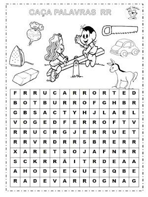 atividades de Ortografia, caça palavras, Dificuldades ortográficas, dígrafos, Sílaba RR