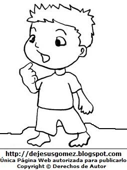 Dibujo de un niño caminando descalzo para colorear pintar imprimir. Dibujo de un niño hecho por Jesus Gómez
