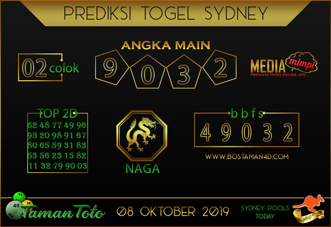 Prediksi Togel SYDNEY TAMAN TOTO 08 OKTOBER 2019