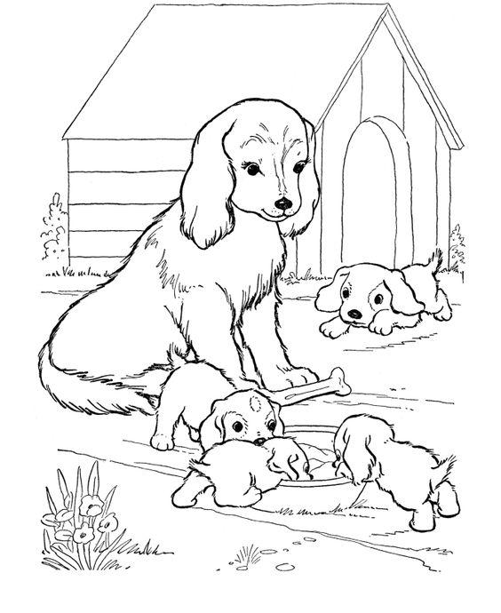 Tranh tô màu gia đình cún con