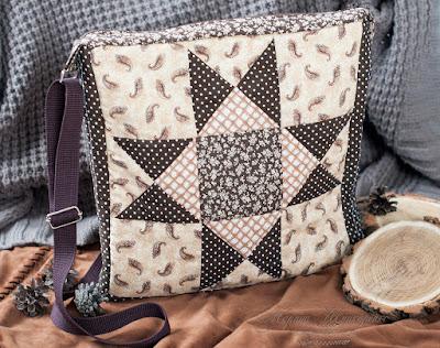 коричневая сумка лоскутная пошив своими руками квадратная сумка  триугольники